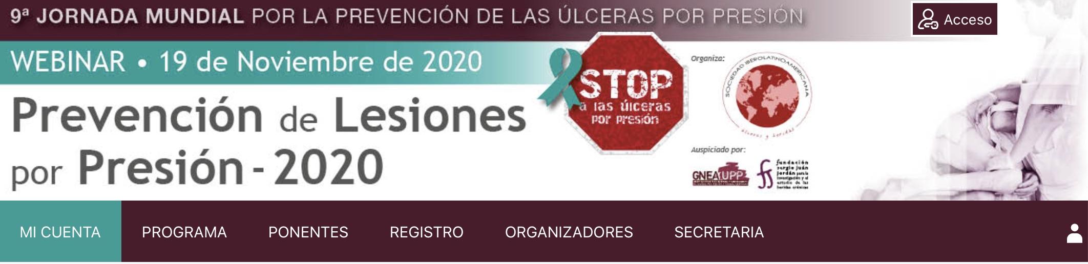 19 de noviembre. 9ª Jornada Mundial por la Prevención de las Úlceras por Presión. Webinar SILAHUE.